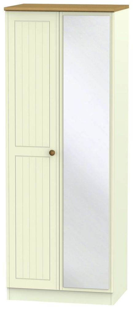 Warwick Cream and Oak 2 Door Tall Mirror Double Wardrobe