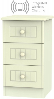 Warwick Cream 3 Drawer Bedside Cabinet with Integrated Wireless Charging