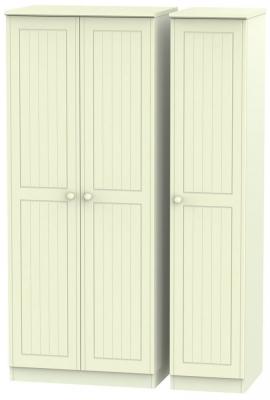 Warwick Cream 3 Door Plain Triple Wardrobe