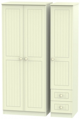 Warwick Cream Triple Wardrobe - Plain with 2 Drawer