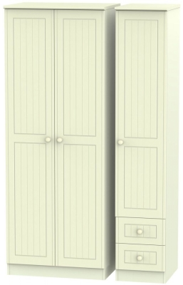 Warwick Cream Triple Wardrobe - Tall Plain with 2 Drawer