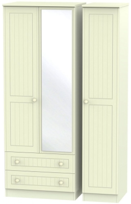 Warwick Cream Triple Wardrobe - Tall with 2 Drawer and Mirror