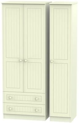 Warwick Cream 3 Door 2 Drawer Tall Triple Wardrobe