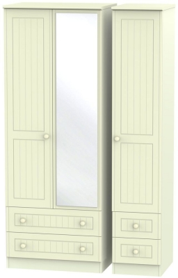 Warwick Cream Triple Wardrobe - Tall with Drawer and Mirror