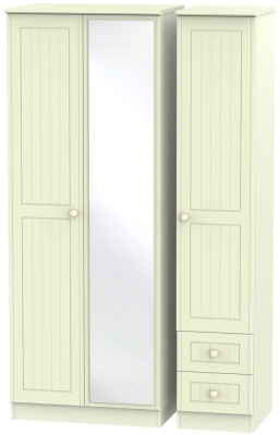 Warwick Cream Triple Wardrobe - Tall with Mirror and 2 Drawer