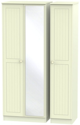 Warwick Cream 3 Door Tall Mirror Triple Wardrobe