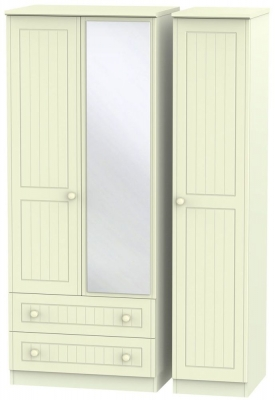 Warwick Cream Triple Wardrobe with 2 Drawer and Mirror