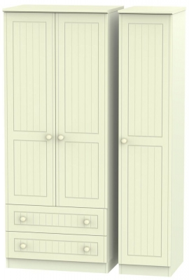 Warwick Cream Triple Wardrobe with 2 Drawer