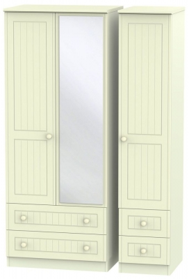 Warwick Cream Triple Wardrobe with Drawer and Mirror
