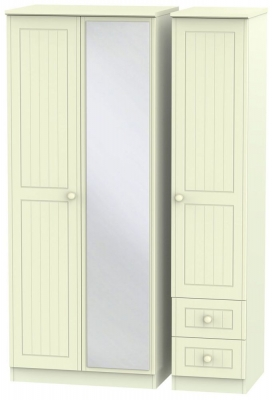 Warwick Cream 3 Door 2 Right Drawer Mirror Triple Wardrobe