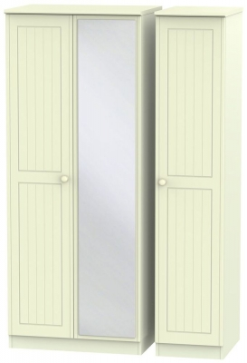 Warwick Cream 3 Door Mirror Triple Wardrobe
