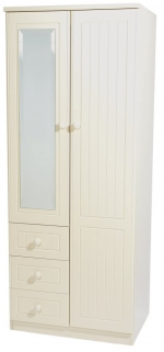 Warwick Cream Wardrobe - 2ft 6in Combination