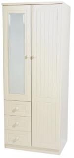 Warwick Cream Wardrobe - 2ft 6in Combination