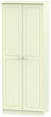 Warwick Cream 2 Door Tall Double Hanging Wardrobe