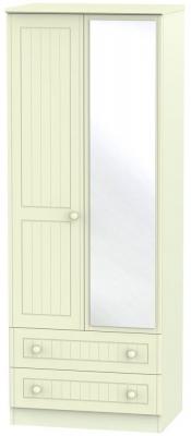 Warwick Cream 2 Door 2 Drawer Tall Mirror Wardrobe