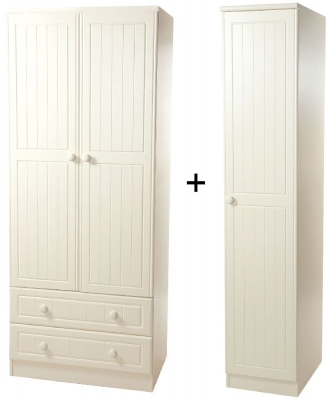 Warwick Cream Wardrobe - Triple 2 Drawer