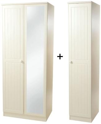 Warwick Cream Wardrobe - Triple Mirror