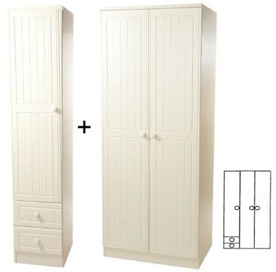 Warwick Cream 3 Door Plain Wardrobe with Drawer