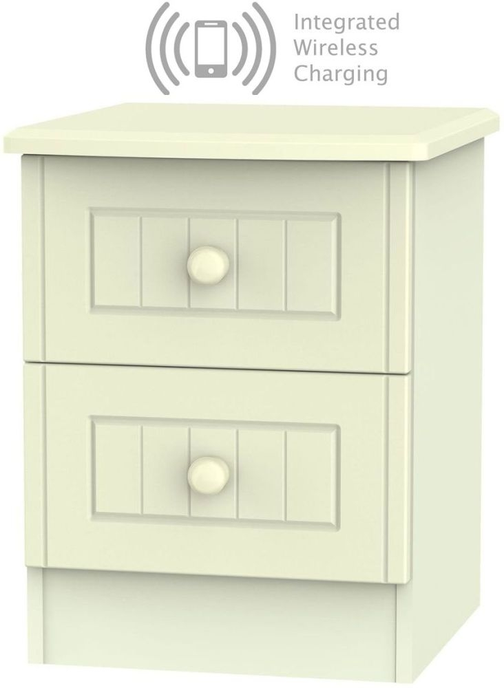 Warwick Cream 2 Drawer Bedside Cabinet with Integrated Wireless Charging