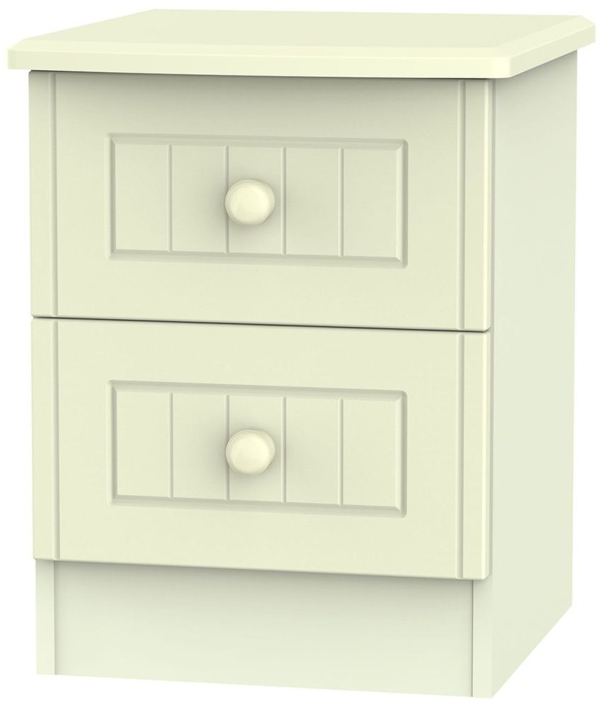 Warwick Cream 2 Drawer Locker Bedside Cabinet