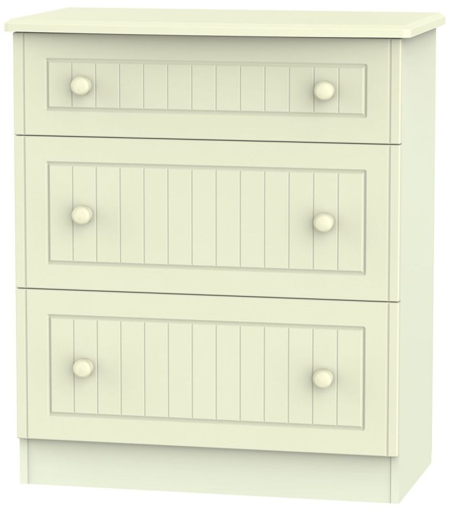 Warwick Cream 3 Drawer Deep Chest