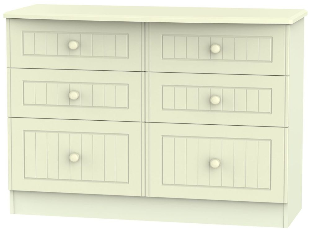 Warwick Cream Chest of Drawer - 6 Drawer Midi