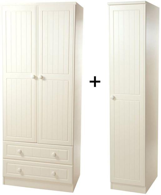 Warwick Cream Tall Triple 2 Drawer Wardrobe
