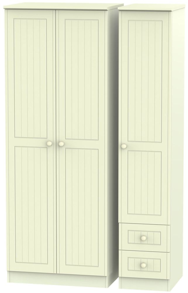 Warwick Cream 3 Door 2 Drawer Tall Plain Triple Wardrobe
