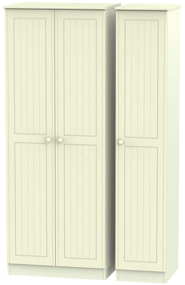 Warwick Cream 3 Door Tall Plain Triple Wardrobe