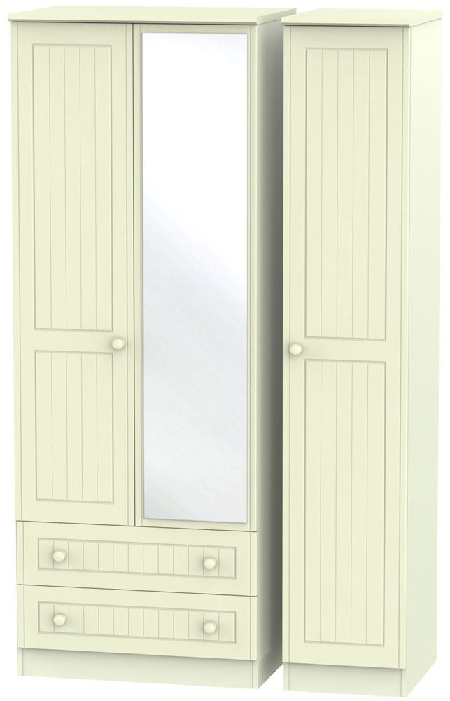 Warwick Cream 3 Door 2 Right Drawer Tall Mirror Triple Wardrobe
