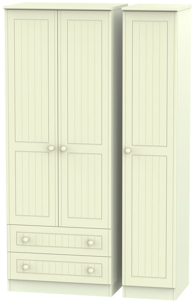 Warwick Cream 3 Door 2 Drawer Tall Triple Wardrobe