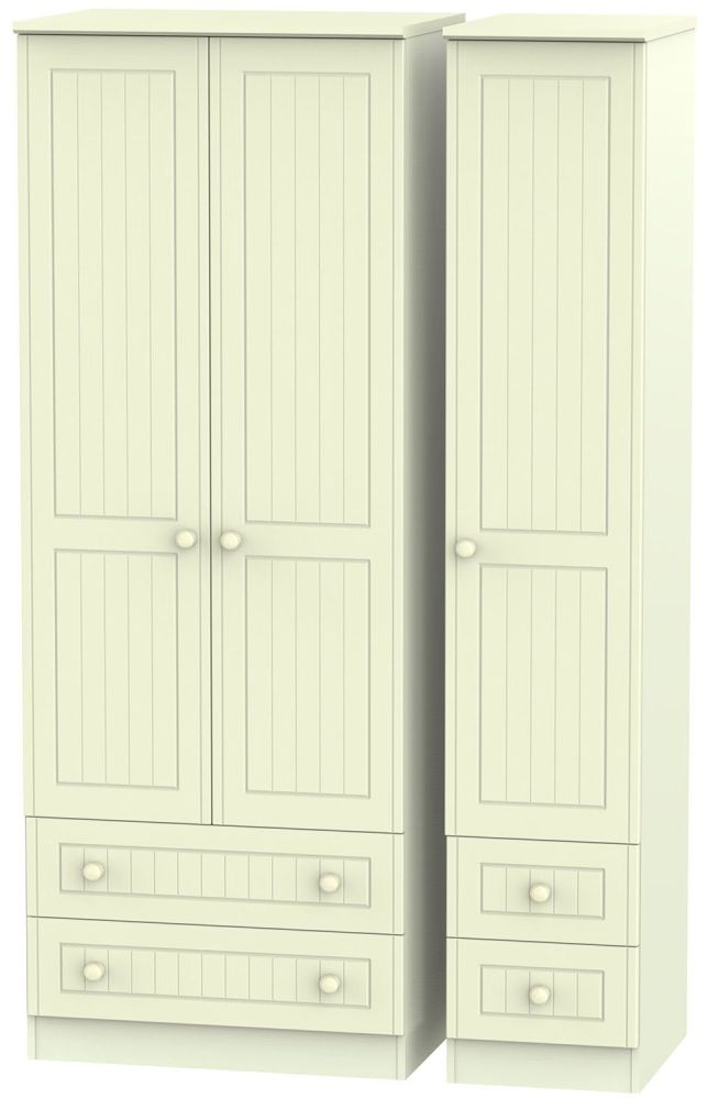 Warwick Cream Triple Wardrobe - Tall with Drawer