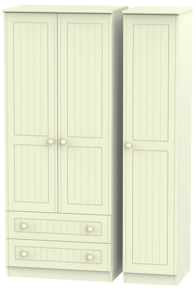 Warwick Cream 3 Door 2 Drawer Triple Wardrobe