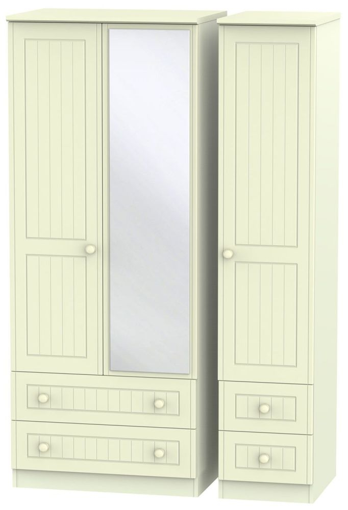 Warwick Cream 3 Door 4 Drawer Mirror Triple Wardrobe