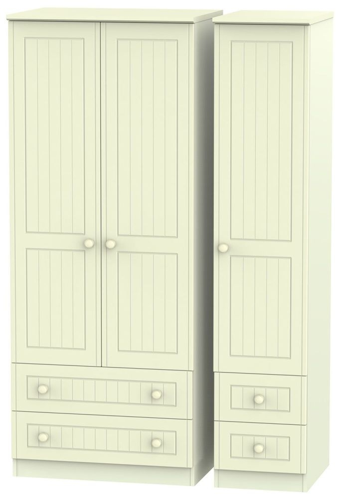 Warwick Cream Triple Wardrobe with Drawer