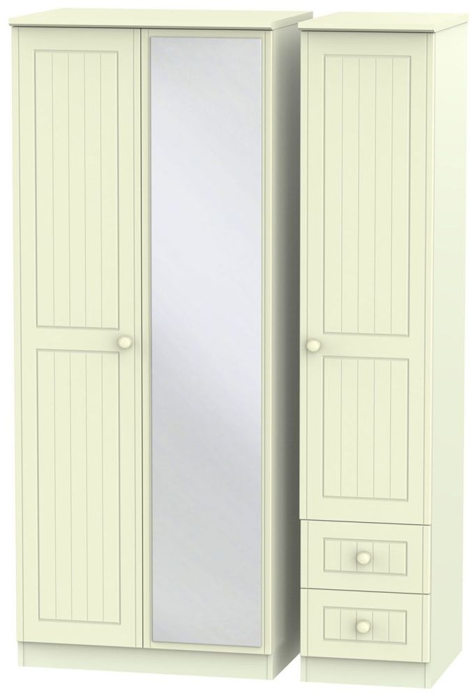 Warwick Cream Triple Wardrobe with Mirror and 2 Drawer