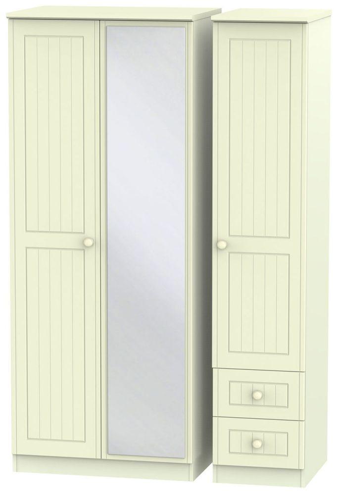 Warwick Cream 3 Door 2 Right Drawer Mirror Triple Wardrobe