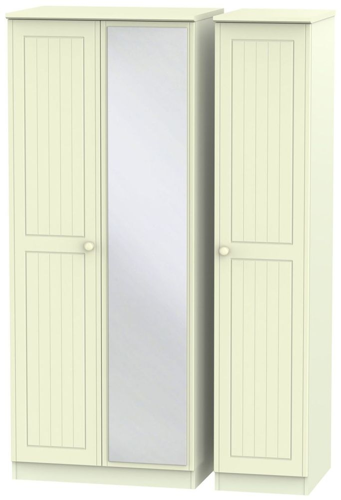 Warwick Cream Triple Wardrobe with Mirror