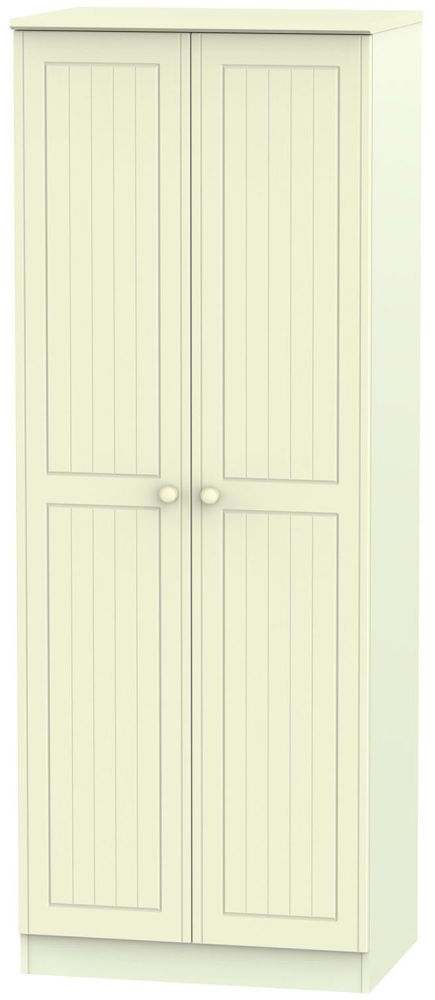 Warwick Cream 2 Door Tall Double Hanging Wardrobe