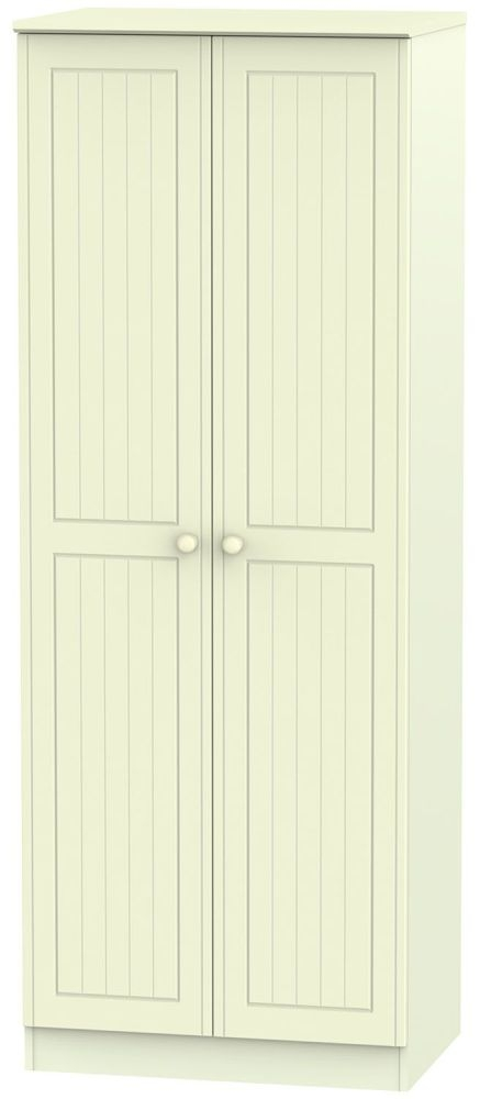 Warwick Cream 2 Door Tall Plain Double Wardrobe