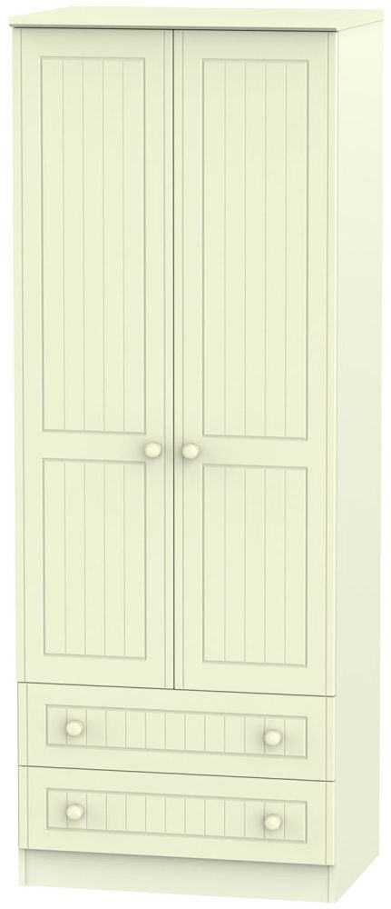 Warwick Cream 2 Door 2 Drawer Tall Double Wardrobe