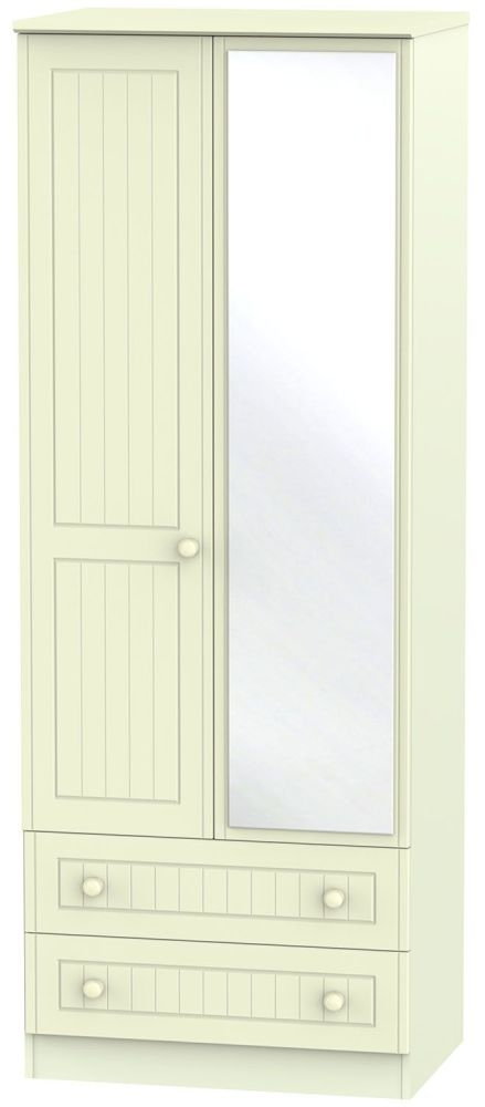 Warwick Cream 2 Door 2 Drawer Tall Mirror Double Wardrobe