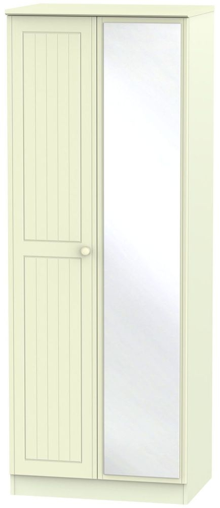 Warwick Cream 2 Door Tall Mirror Double Wardrobe