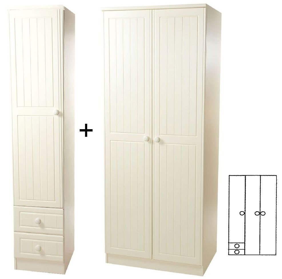 Warwick Cream 3 Door Plain Wardrobe with Drawer