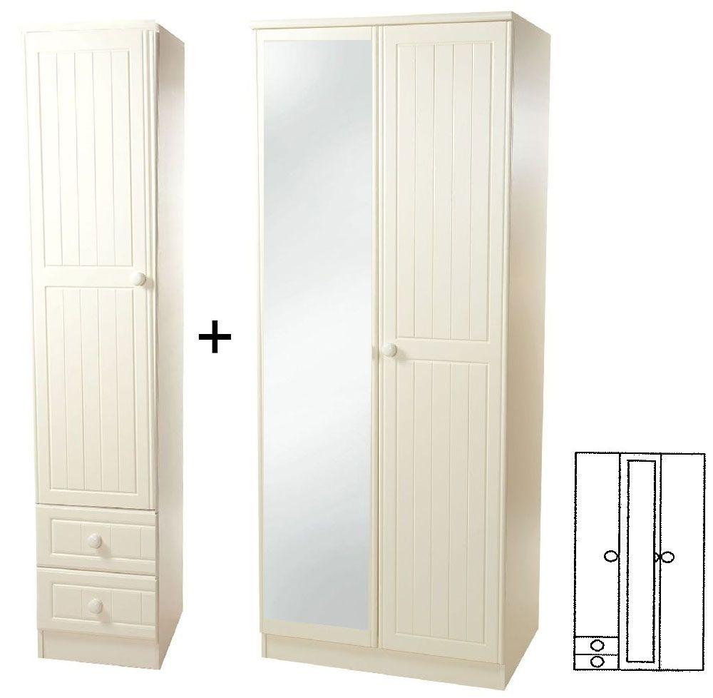 Warwick Cream 3 Door Wardrobe with Mirror and Drawer