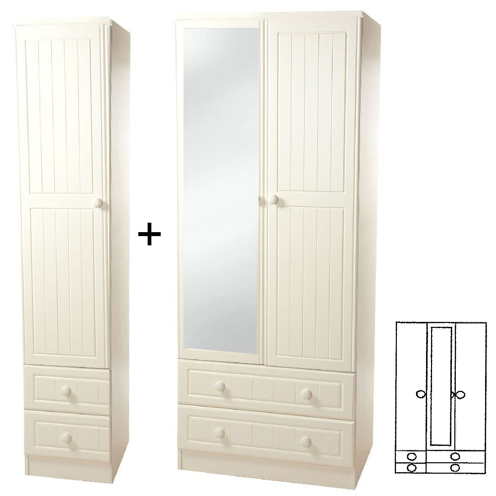 Warwick Cream Tall 3 Door Combi Wardrobe with Mirror and Drawer