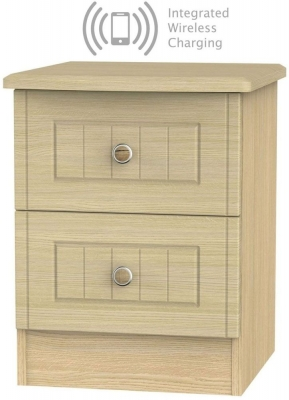 Warwick Oak 2 Drawer Bedside Cabinet with Integrated Wireless Charging