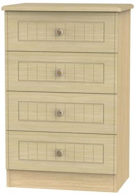 Warwick Light Oak Chest of Drawer - 4 Drawer Midi