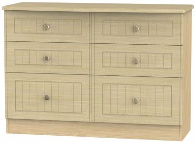 Warwick Light Oak Chest of Drawer - 6 Drawer Midi