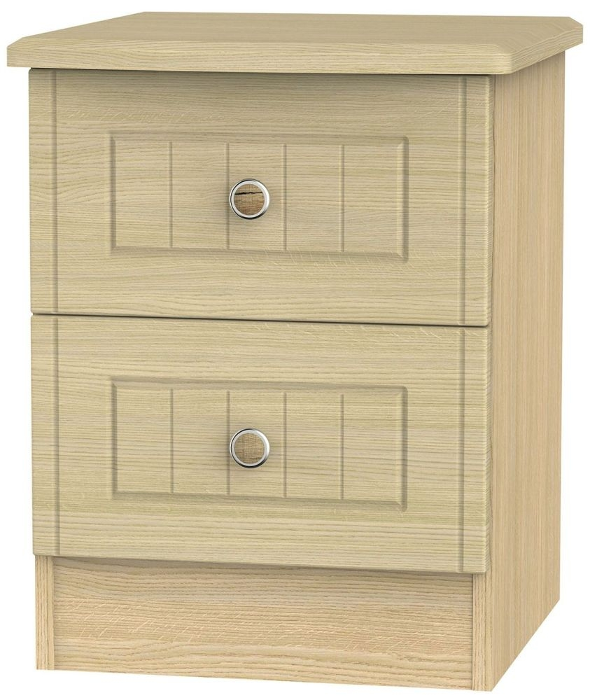 Warwick Light Oak 2 Drawer Locker Bedside Cabinet